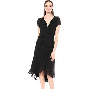 GABBY SKYE Black Faux Wrap Ruffle Midi Dress